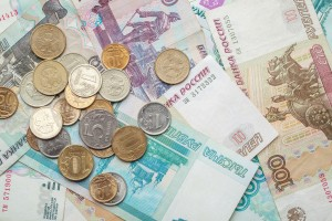 Russian Money Background. Rubles Banknotes And Coins