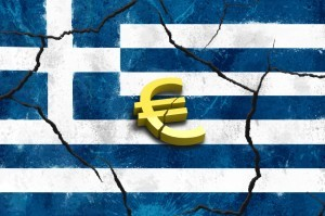 Euro crashing greek flag