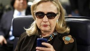 Hillary Clinton on Mobile Phone