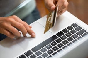 ordering online with laptop