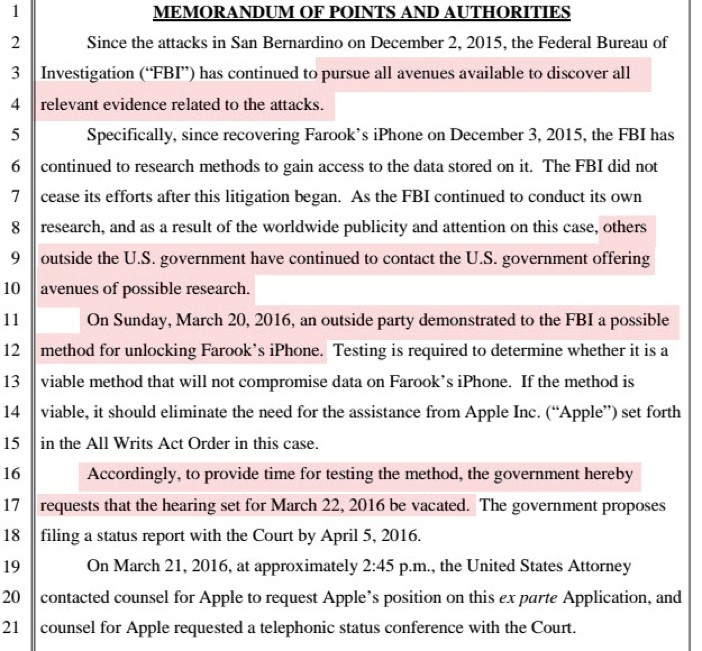 FBI Memorandum Apple