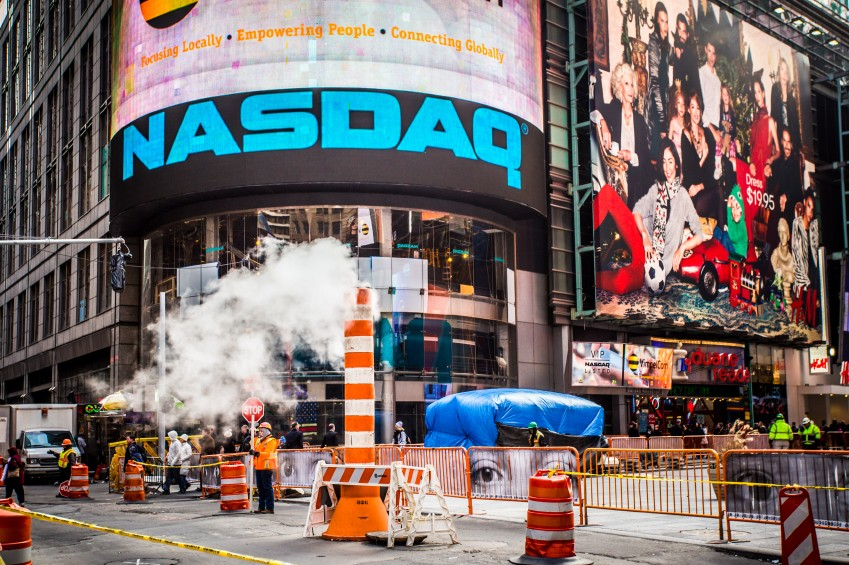 NASDAQ Building and Sign in Times Square NYC