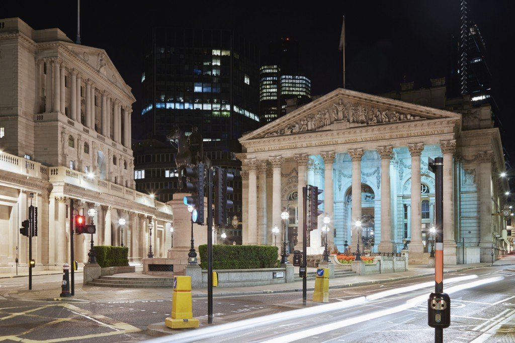London Royal Exchange, luxury shopping centre and Bank of England at night