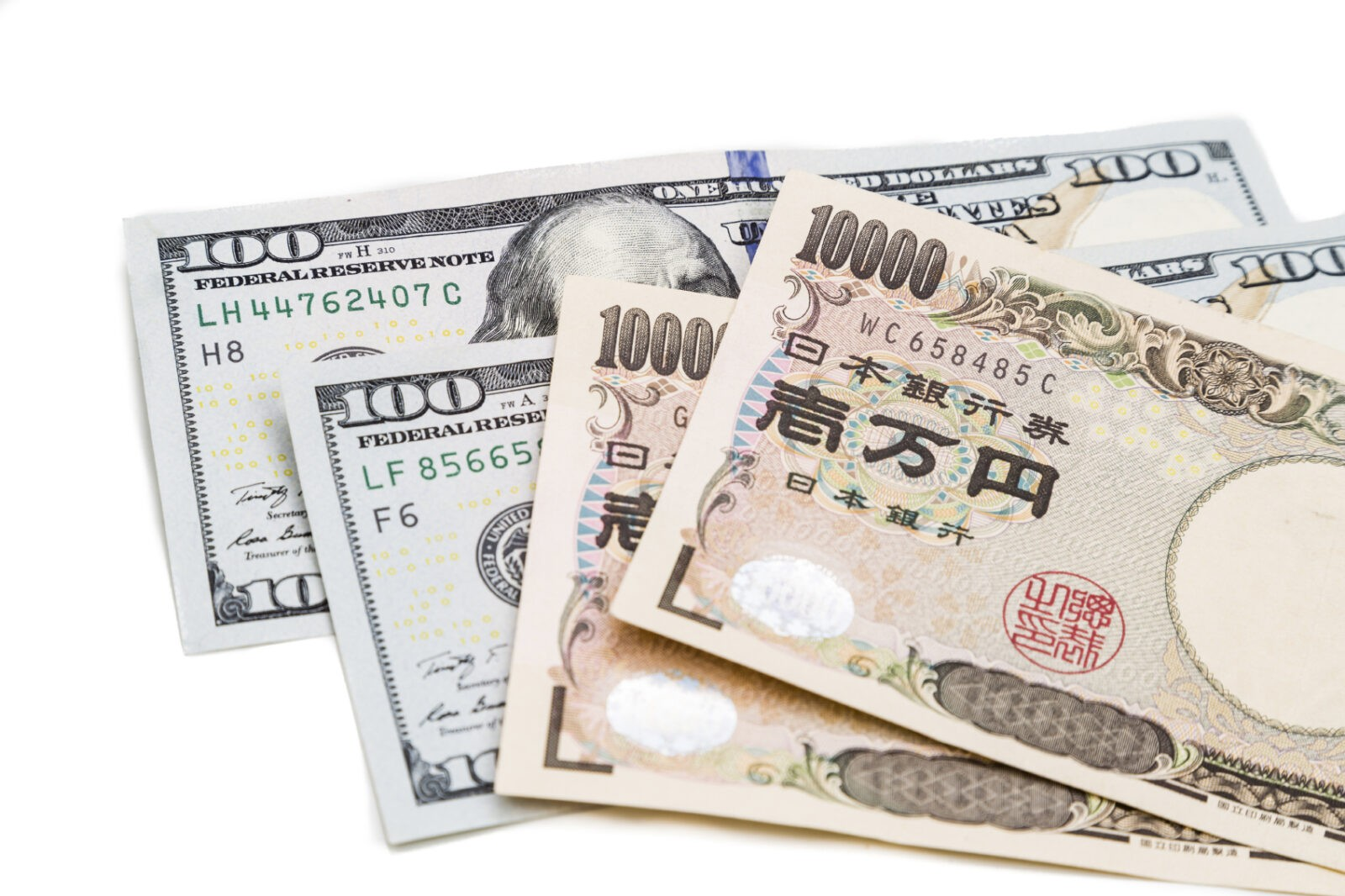 japanese yen and US Dollar Bank notes